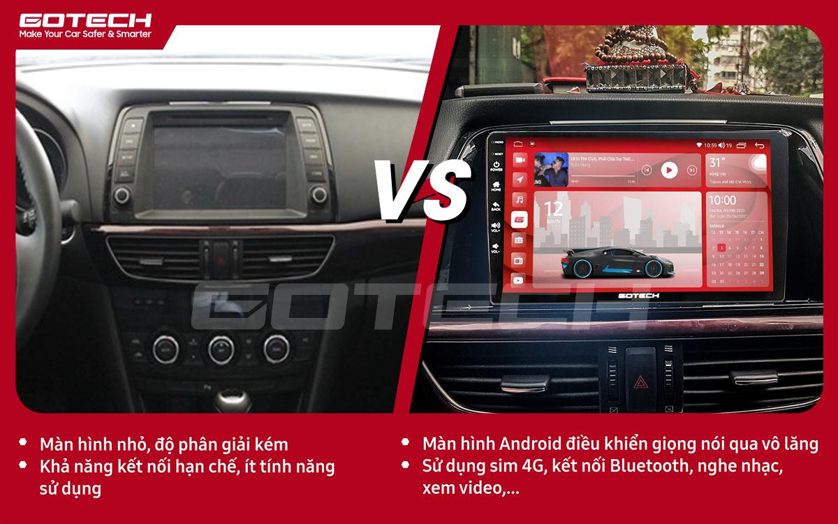 So sánh trước và sau khi lắp đặt màn hình ô tô GOTECH cho xe Mazda 6 2014-2016