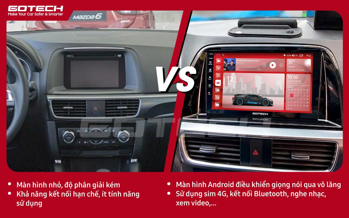 So sánh trước và sau khi lắp đặt màn hình ô tô GOTECH cho xe Mazda Cx5 2016-2017