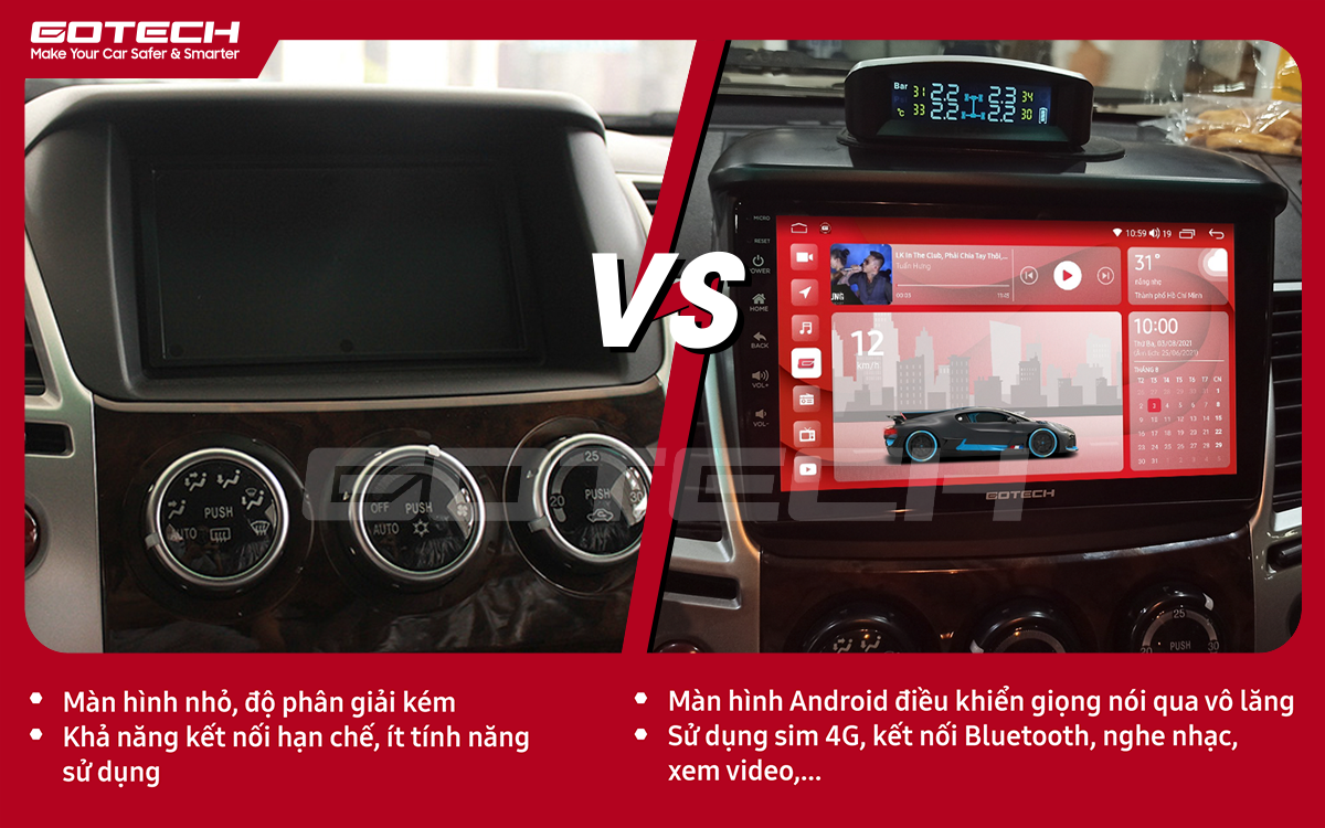 So sánh trước và sau khi lắp đặt màn hình ô tô Gotech cho xe Mitsubishi Pajero Sport 2011-2016