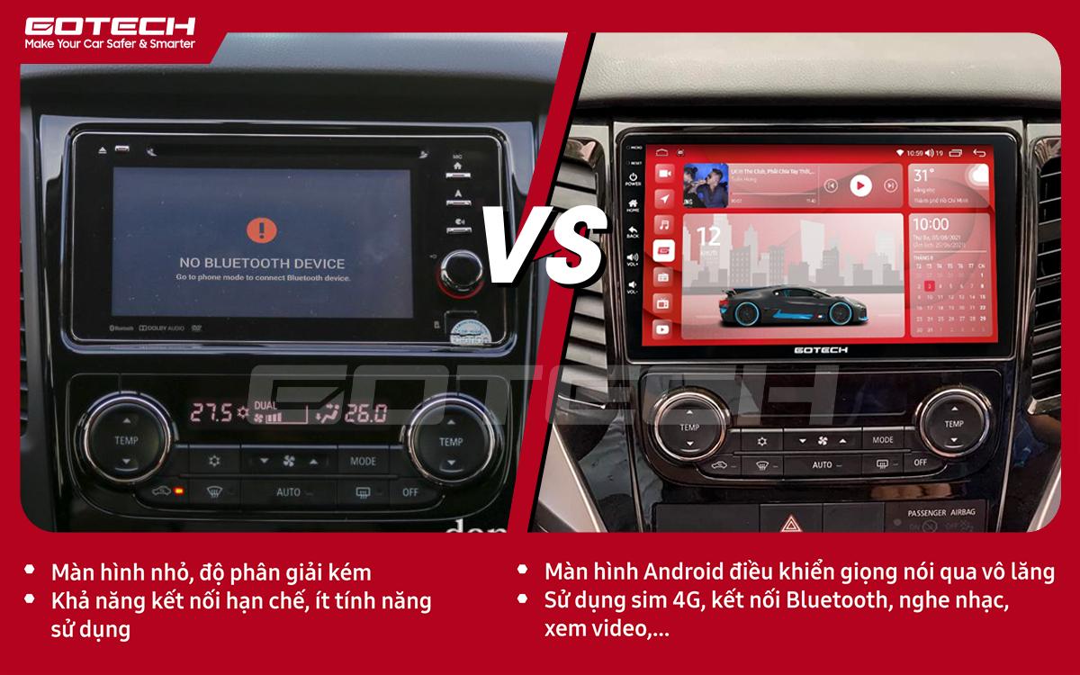 So sánh trước và sau khi lắp đặt màn hình ô tô GOTECH cho xe Mitsubishi Pajero Sport 2018-2019