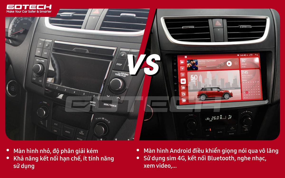 So sánh trước và sau khi lắp đặt màn hình ô tô GOTECH cho xe Suzuki Swift 2013-2017