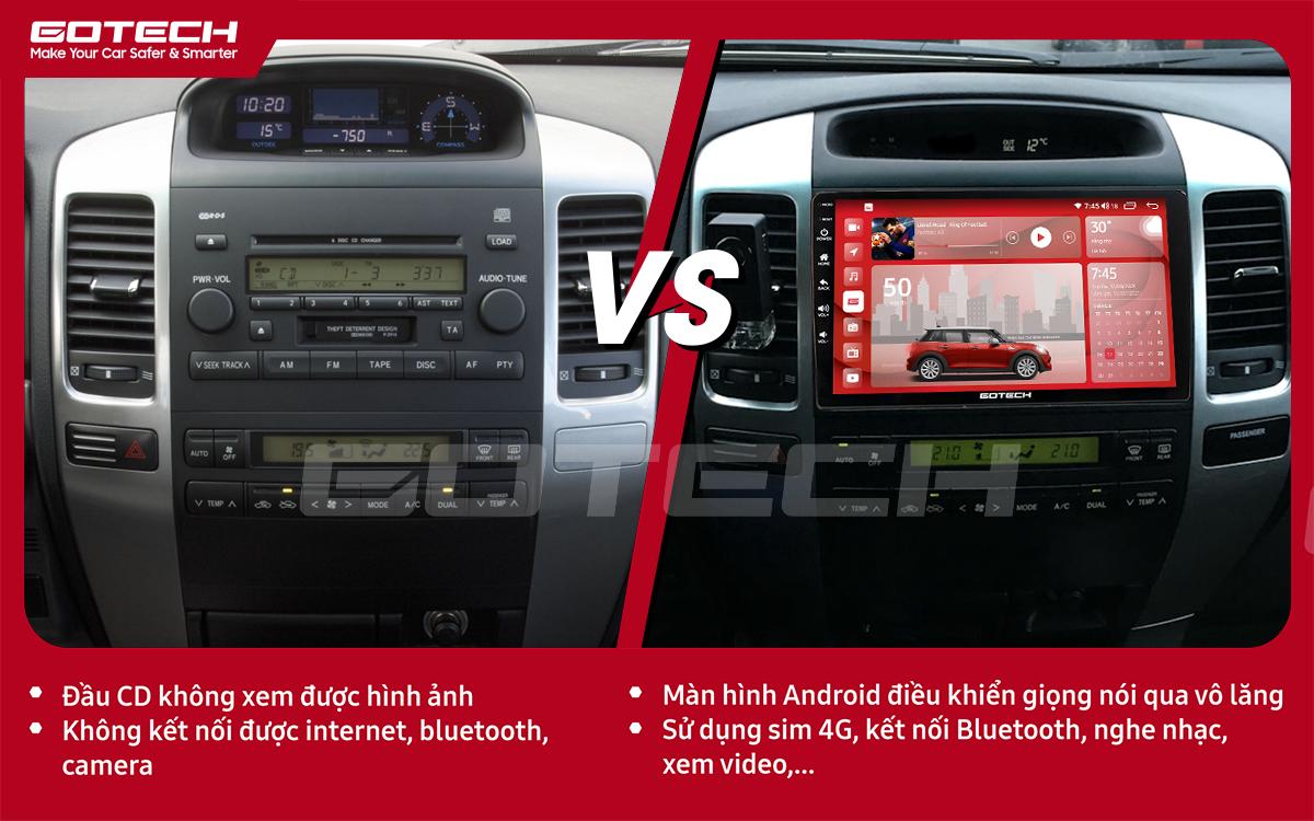 So sánh trước và sau khi lắp đặt màn hình ô tô GOTECH cho xe Toyota Land Cruiser 2003-2007
