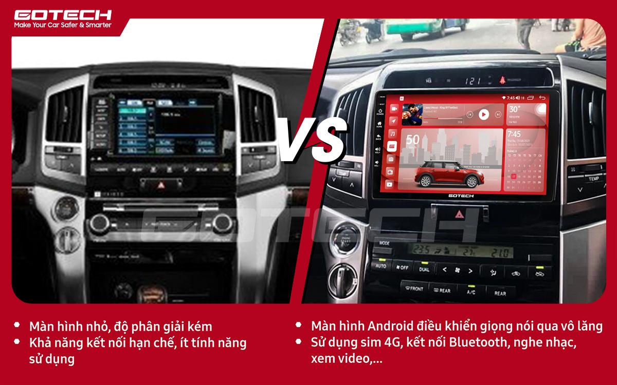 So sánh trước và sau khi lắp đặt màn hình ô tô GOTECH cho xe Toyota Land Cruiser 2008-2015