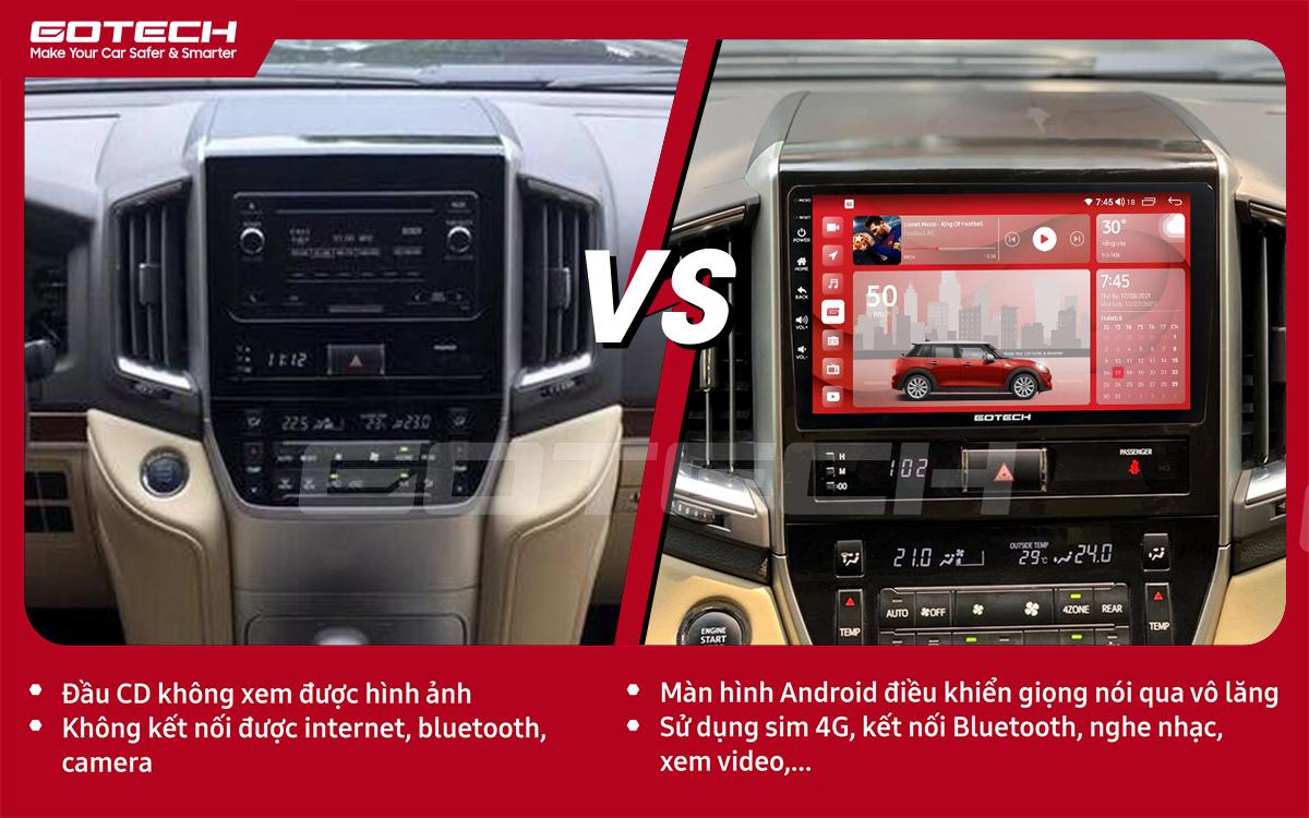 So sánh trước và sau khi lắp đặt màn hình ô tô GOTECH cho xe Toyota Land Cruiser 2016-2019