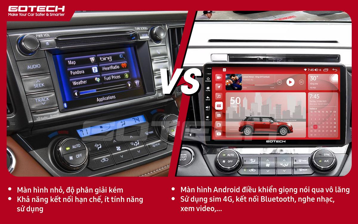 So sánh trước và sau khi lắp đặt màn hình ô tô GOTECH cho xe Toyota Rav4 2013-2014
