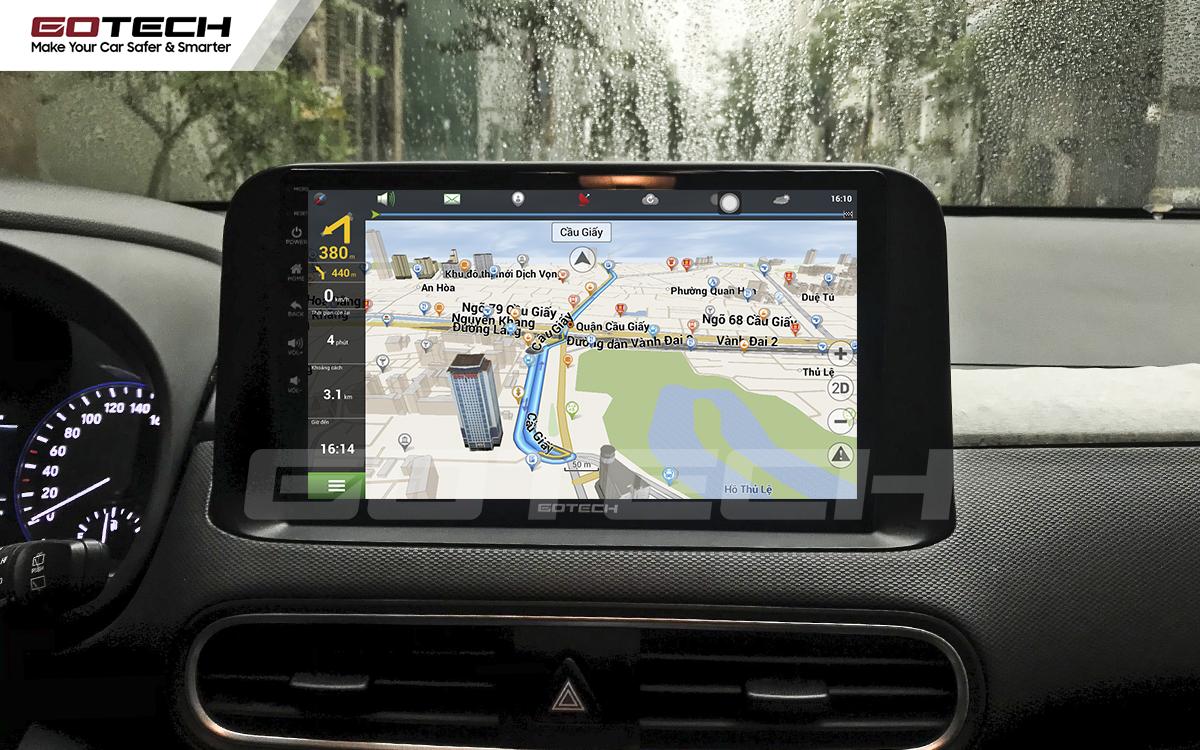 Tích hợp các bản đồ dẫn đường thông minh và thao tác dễ dàng cho xe Hyundai Kona 2018-2020