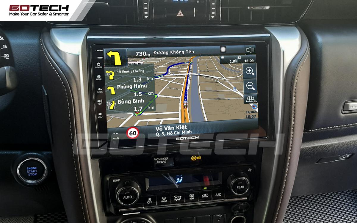 Tích hợp các bản đồ dẫn đường thông minh và thao tác dễ dàng cho xe Toyota Fortuner 2017-2020