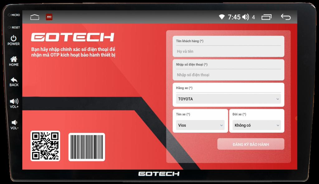 Màn hình Gotech GT10 Pro cho phép bảo hành điện tử tiện dụng.