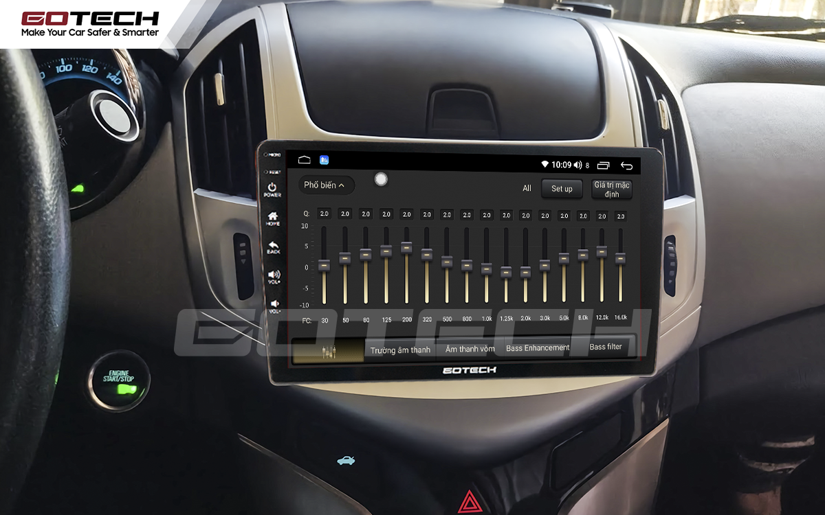 Bộ xử lý tín hiệu âm thanh DSP 32 kênh trên màn hình GOTECH cho xe Chevrolet Cruze 2017-2018