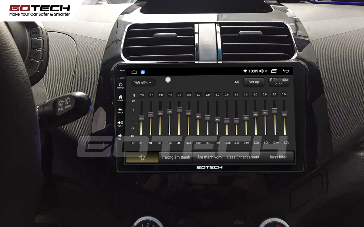 Bộ xử lý tín hiệu âm thanh DSP 32 kênh trên màn hình GOTECH cho xe Chevrolet Spark Matiz 2012-2016