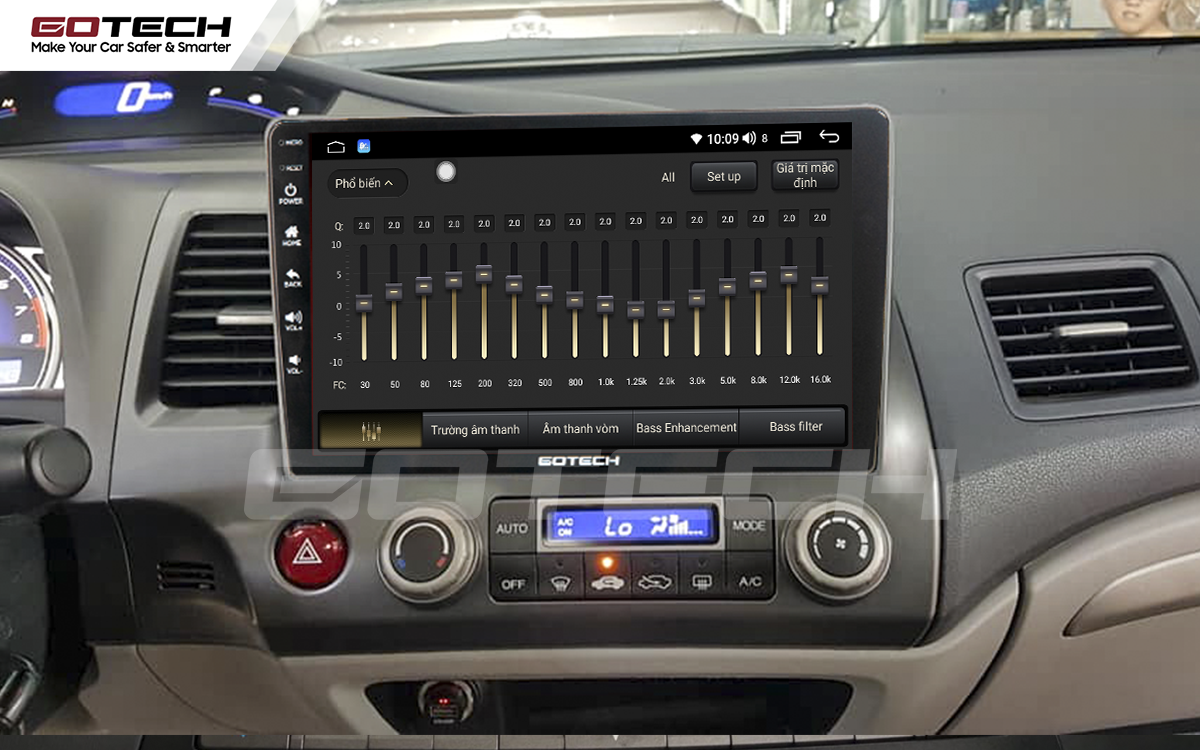 Bộ xử lý tín hiệu âm thanh DSP 32 kênh trên màn hình GOTECH cho xe Honda Civic 2007-2012