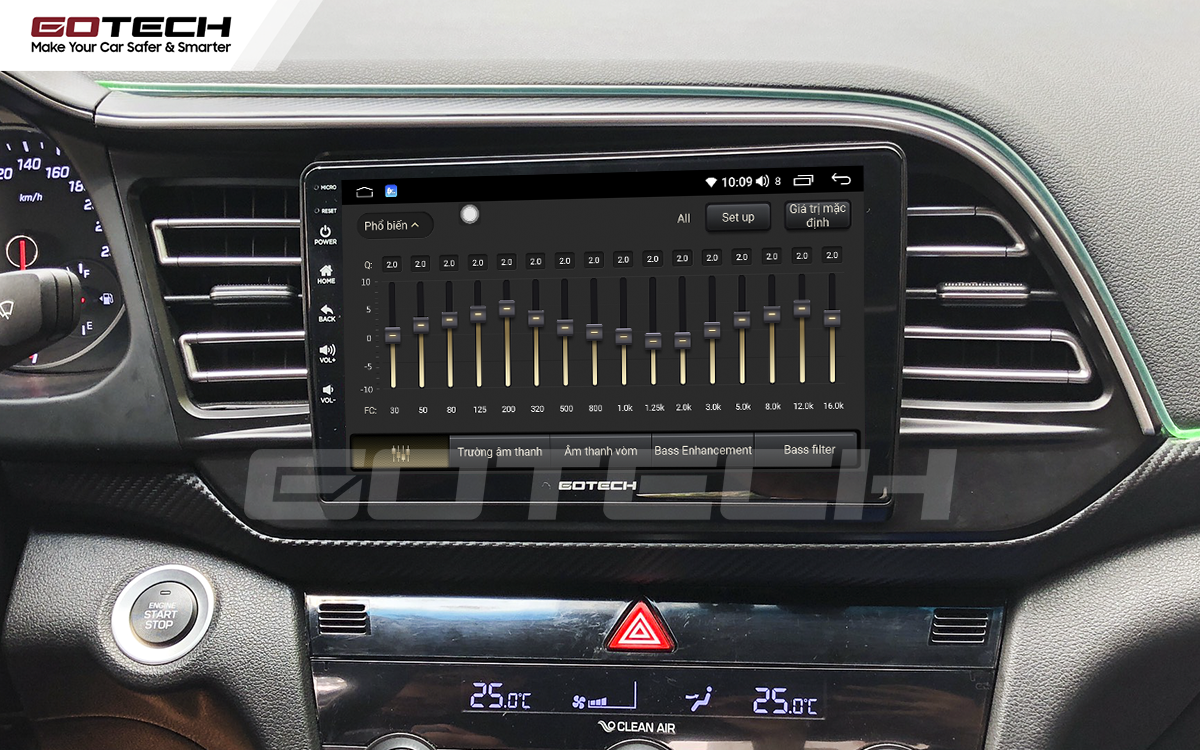 Bộ xử lý tín hiệu âm thanh DSP 32 kênh trên màn hình GOTECH cho xe Hyundai Elantra 2019-2020