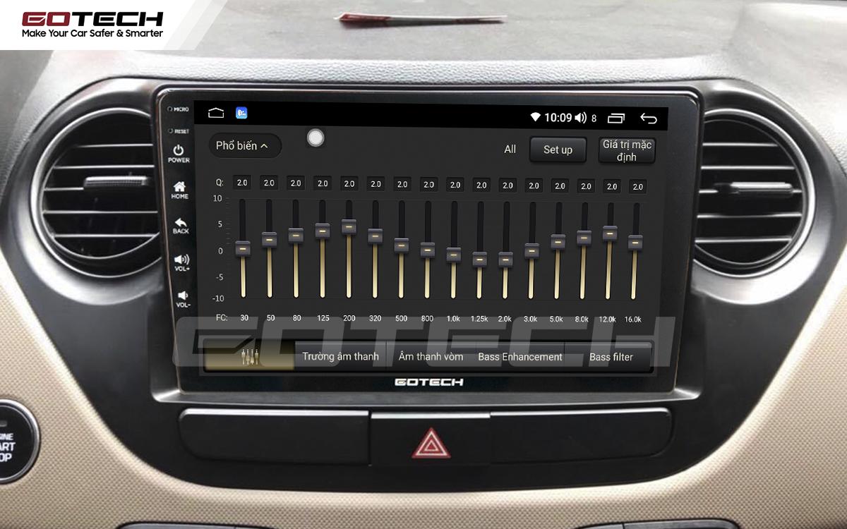 Bộ xử lý tín hiệu âm thanh DSP 32 kênh trên màn hình GOTECH cho xe Hyundai i10 2014-2019