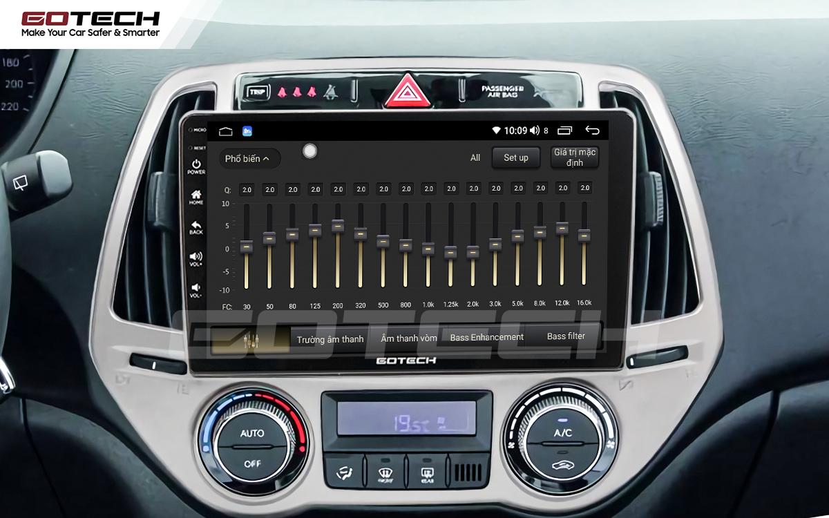 Bộ xử lý tín hiệu âm thanh DSP 32 kênh trên màn hình GOTECH cho xe Hyundai i20 2013-2014
