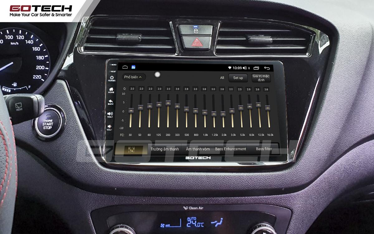 Bộ xử lý tín hiệu âm thanh DSP 32 kênh trên màn hình GOTECH cho xe Hyundai i20 Active 2015-2018