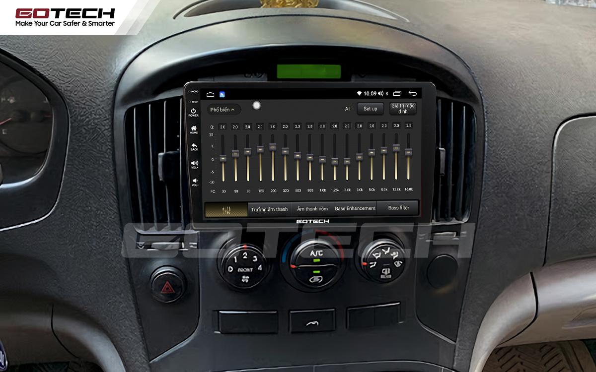 Bộ xử lý tín hiệu âm thanh DSP 32 kênh trên màn hình GOTECH cho xe Hyundai Starex 2016-2019