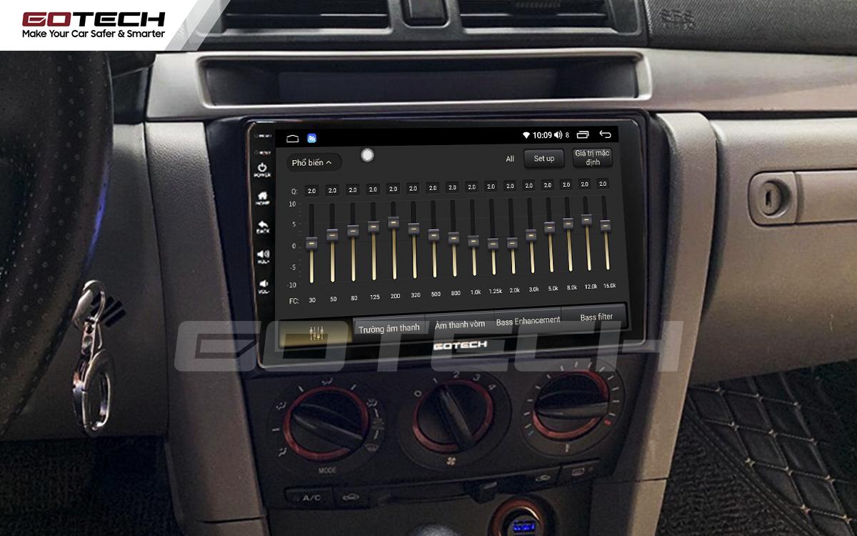 Bộ xử lý tín hiệu âm thanh DSP 32 kênh trên màn hình GOTECH cho xe Mazda 3 2004-2009