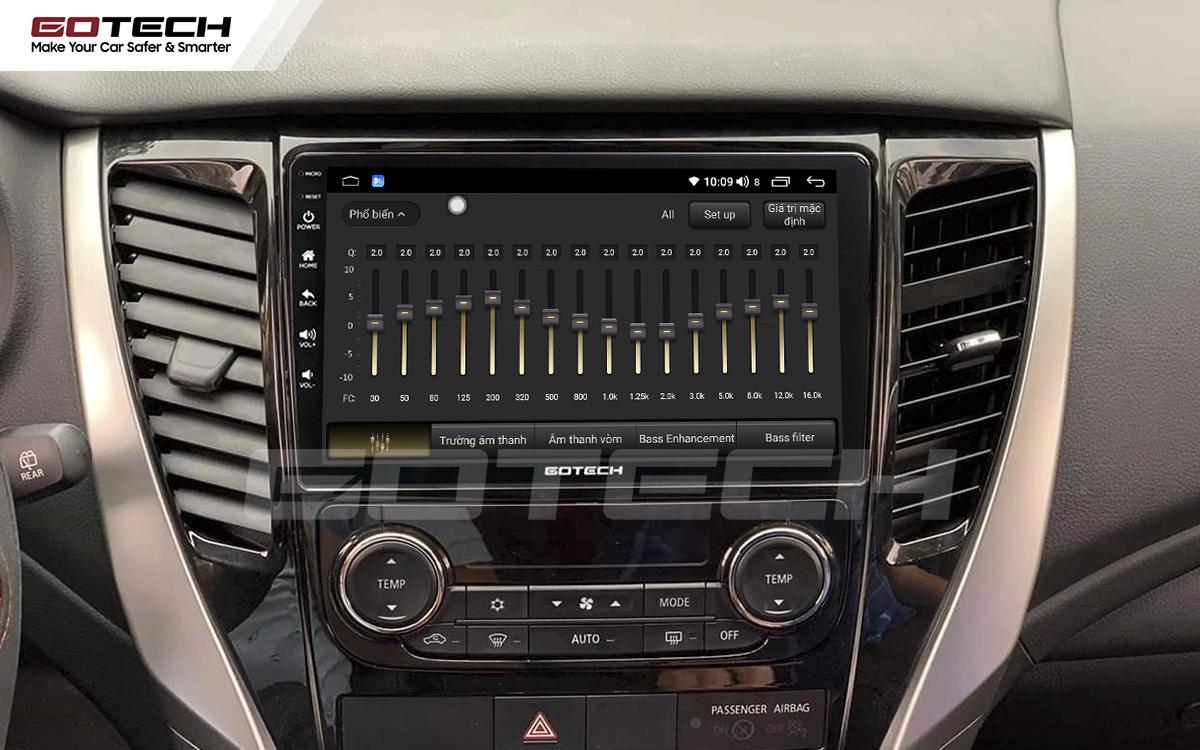 Bộ xử lý tín hiệu âm thanh DSP 32 kênh trên màn hình GOTECH cho xe Mitsubishi Pajero Sport 2018-2019