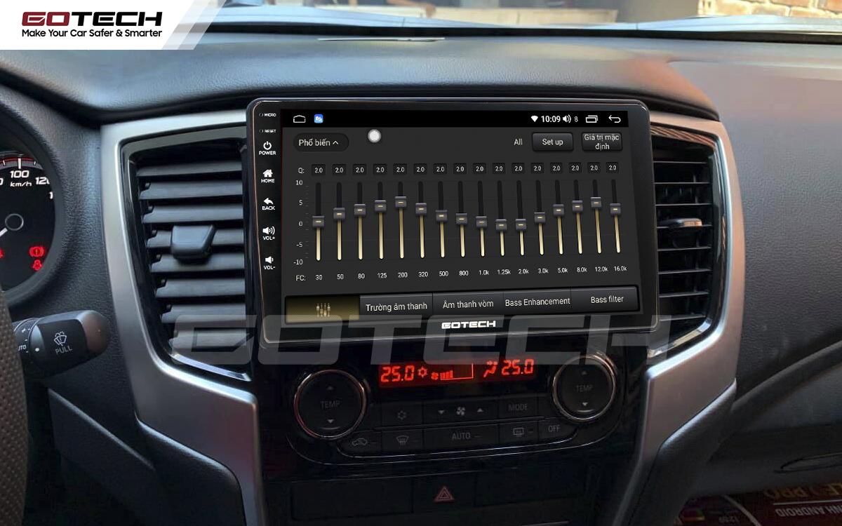 Bộ xử lý tín hiệu âm thanh DSP 32 kênh trên màn hình GOTECH cho xe Mitsubishi Triton 2019-2020