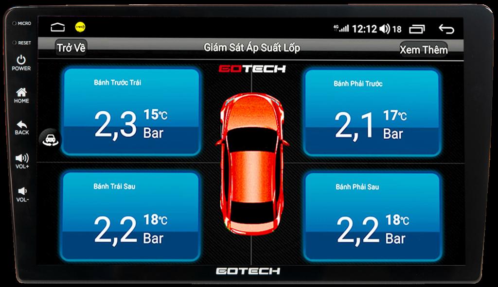 Xem cảm biến áp suất lốp thông qua màn hình ô tô thông minh GOTECH GT6 New.