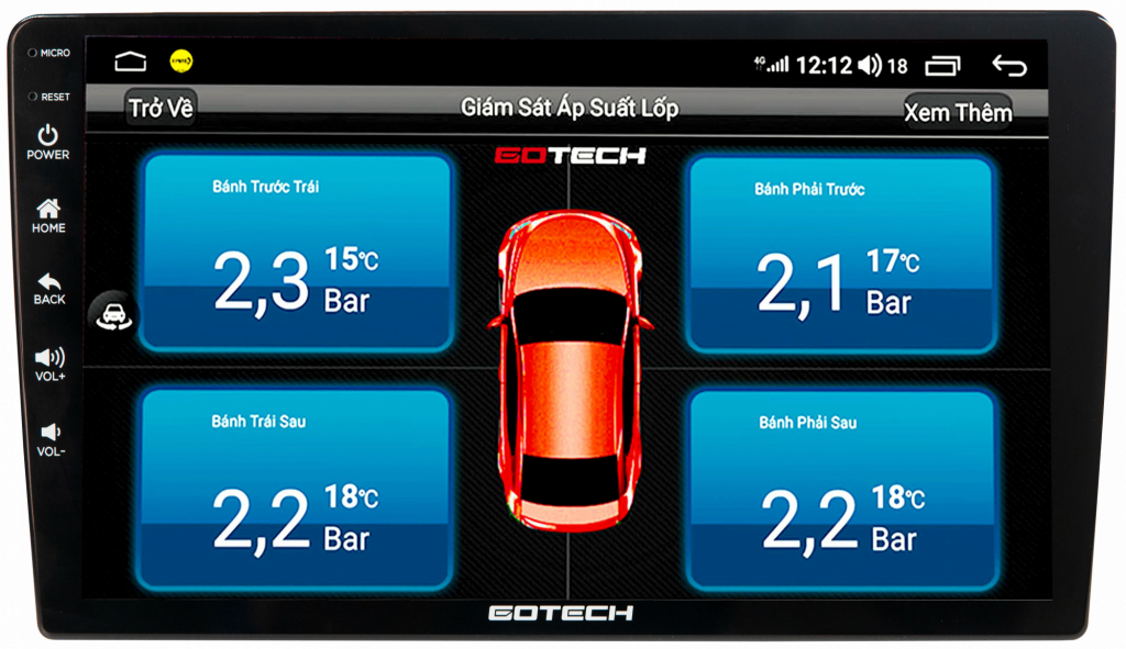 Tích hợp cảm biến áp suất lốp trên màn hình Gotech GT8.