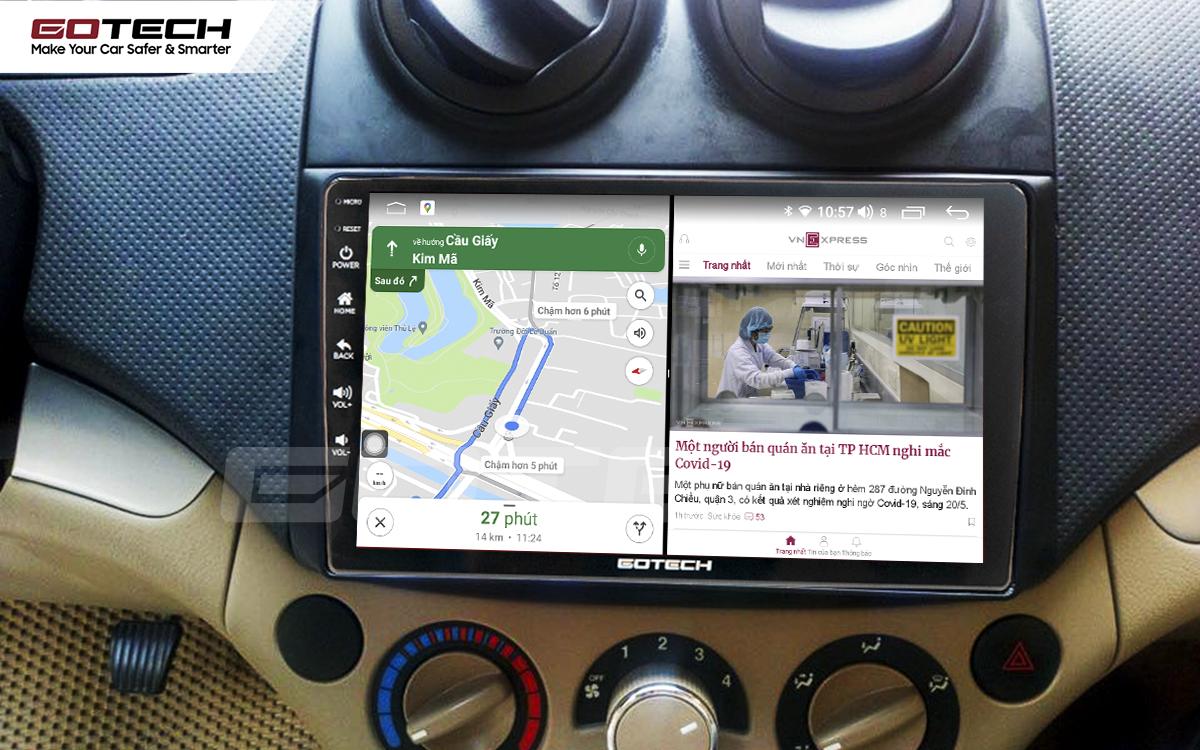 Chạy đa nhiệm ứng dụng mượt mà trên màn hình ô tô GOTECH cho xe Chevrolet Aveo 2011-2018