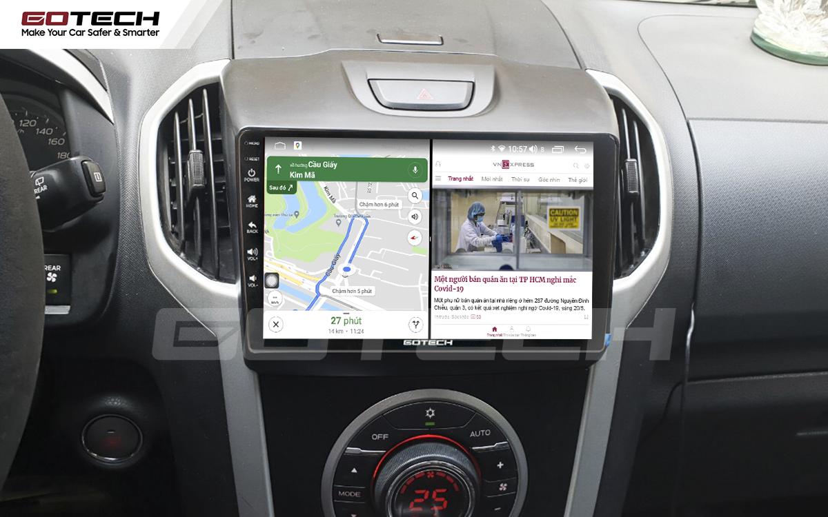 Chạy đa nhiệm ứng dụng mượt mà trên màn hình ô tô GOTECH cho xe Chevrolet Colorado 2015-2016