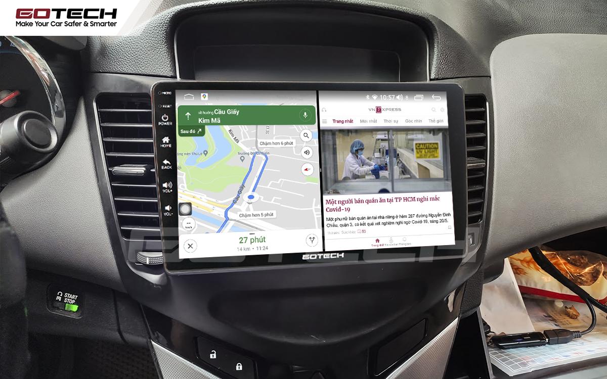 Chạy đa nhiệm ứng dụng mượt mà trên màn hình ô tô GOTECH cho xe Chevrolet Cruze 2009-2015