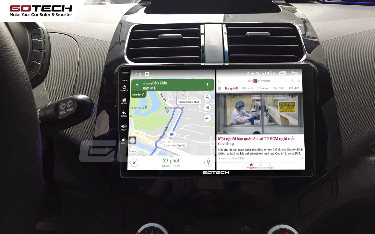 Chạy đa nhiệm ứng dụng mượt mà trên màn hình ô tô GOTECH cho xe Chevrolet Spark Matiz 2012-2016