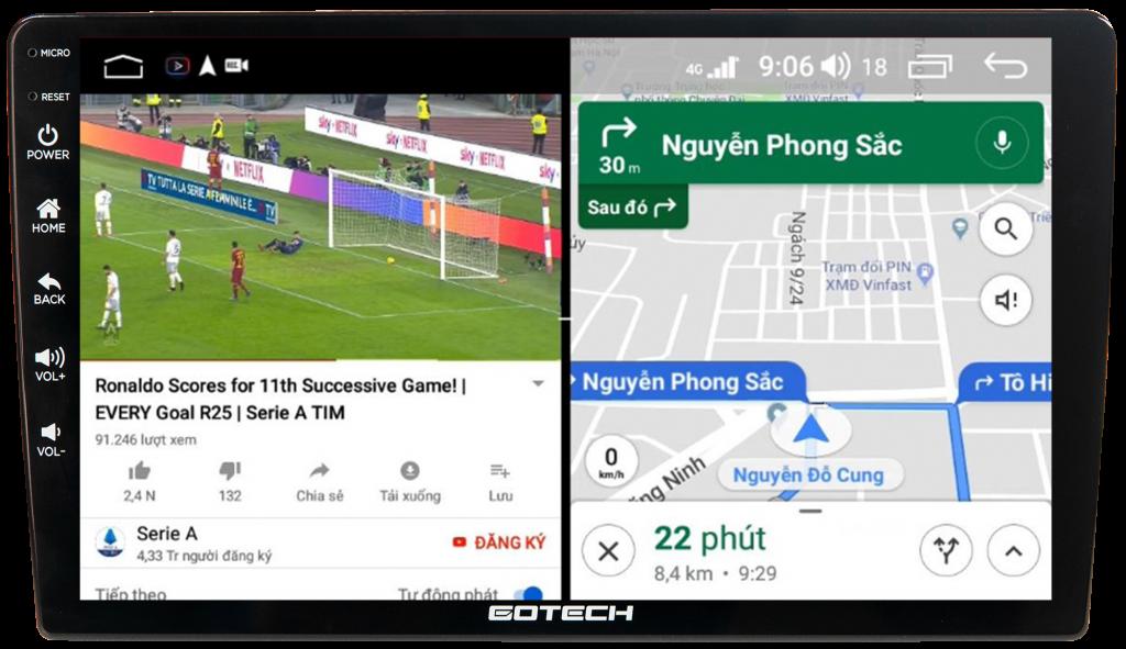 Màn hình ô tô thông minh tích hợp camera 360 GOTECH GT360 chạy đa nhiệm ứng dụng mượt mà.