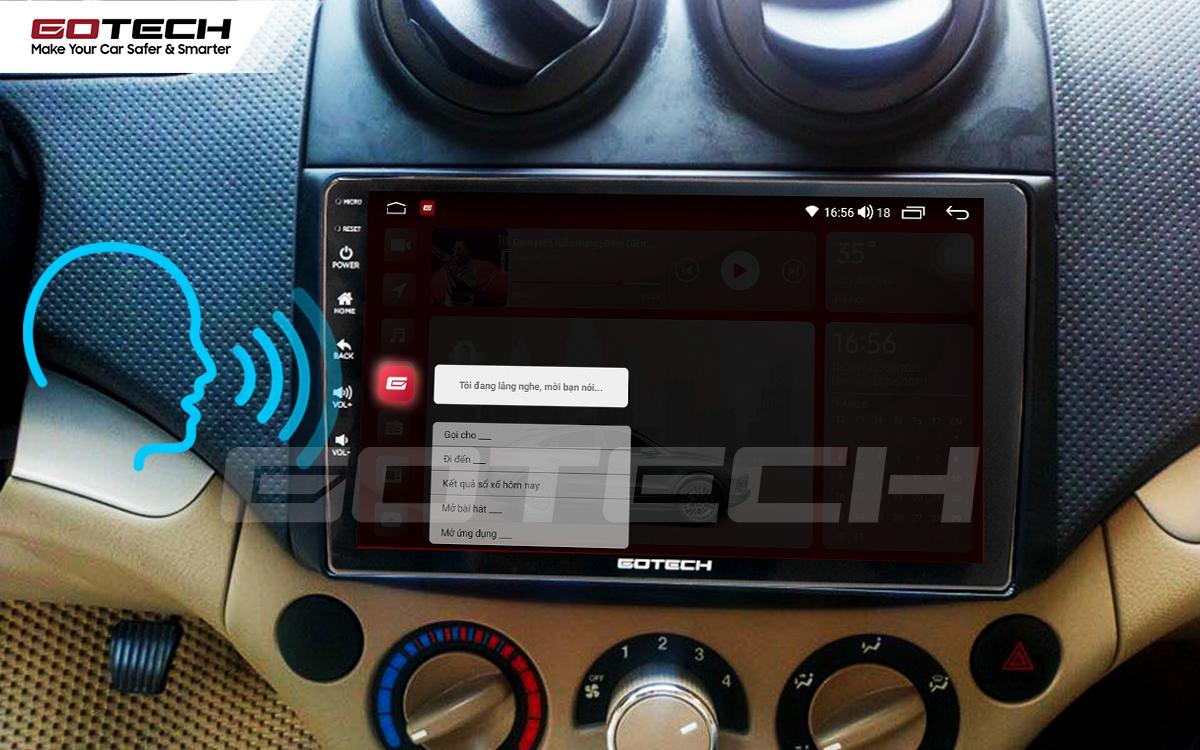 Điều khiển giọng nói qua vô lăng trên màn hình ô tô GOTECH cho xe Chevrolet Aveo 2011-2018