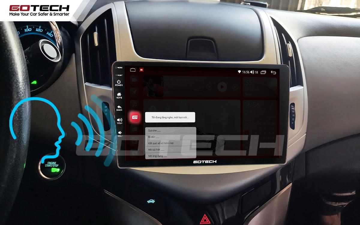 Điều khiển giọng nói qua vô lăng trên màn hình ô tô GOTECH cho xe Chevrolet Cruze 2017-2018