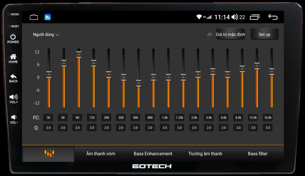 Nghe nhạc với DSP 32 kênh trên màn hình Gotech GT6 New.