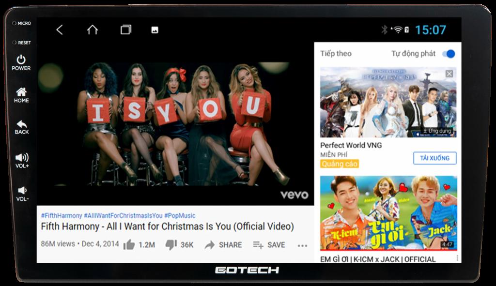 Xem Youtube giải trí trên màn hình GOTECH GT8 2021.
