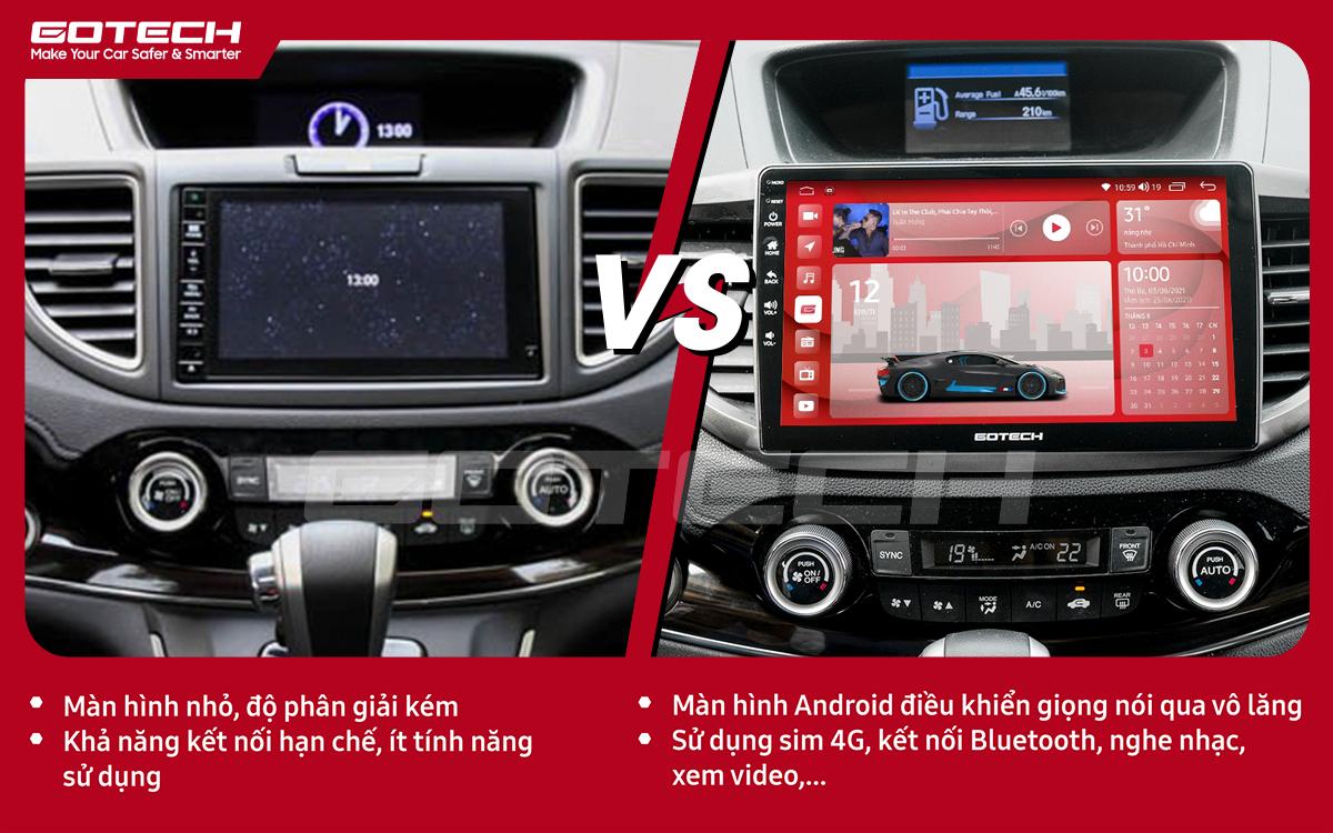 Hình ảnh so sánh trước và sau khi lắp đặt màn hình ô tô thông minh GOTECH cho xe Honda CRV 2013- 2017