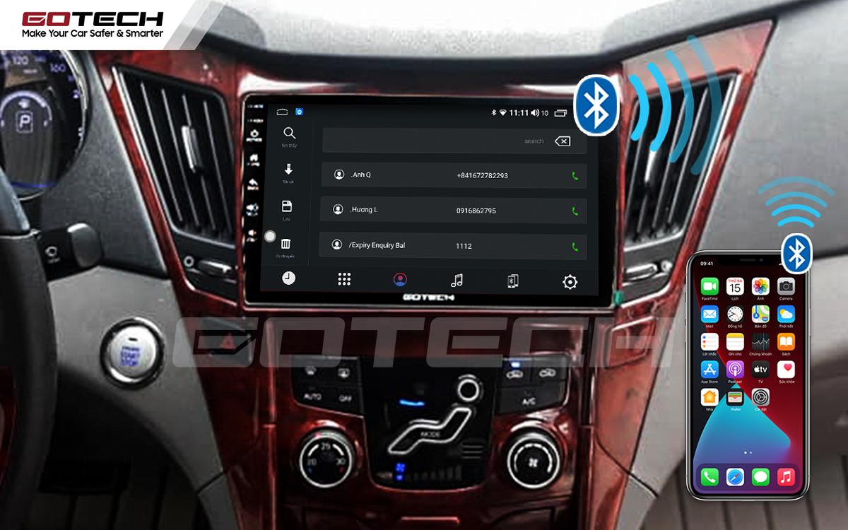 Kết nối Bluetooth trên màn hình ô tô GOTECH cho xe Hyundai Sonata 2010-2013