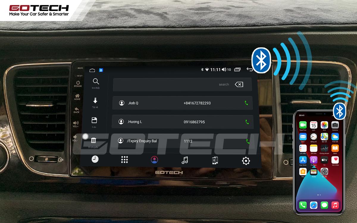Kết nối Bluetooth trên màn hình ô tô GOTECH cho xe Kia Sedona 2015-2020