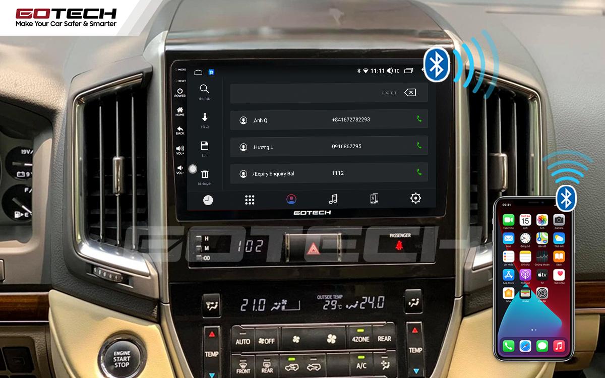Kết nối Bluetooth trên màn hình ô tô GOTECH cho xe Toyota Land Cruiser 2016-2019