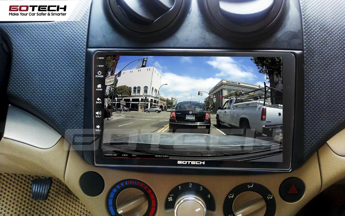 Kết nối với camera hành trình trên màn hình android GOTECH cho xe Chevrolet Aveo 2011-2018