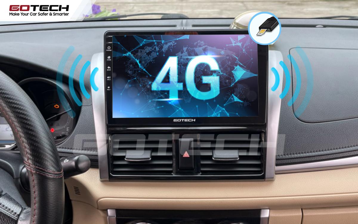 Kết nối internet 4G tốc độ cao trên màn hình ô tô GOTECH cho xe Toyota Vios