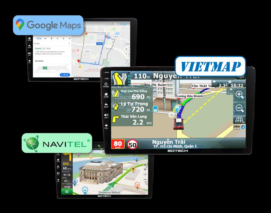 Màn hình android gotech Gt360 plus cho phép tích hợp 3 phần mềm dẫn đường thông minh nhất hiện nay.