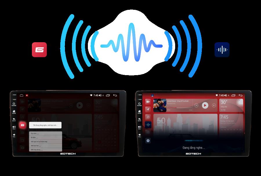 Màn hình android ô tô Gotech Gt360 Plus cho phép điều khiển giọng nói qua 2 Trợ lý thông minh.