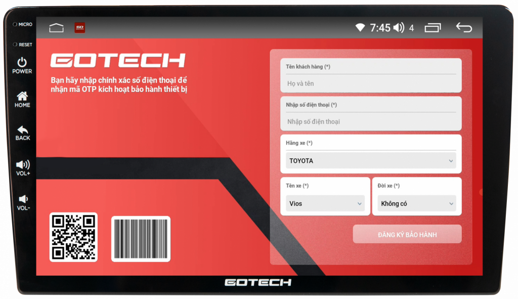 Màn hình dvd android Gotech Gt360 Plus cho phép bảo hành tiện tử qua Gotech Service.