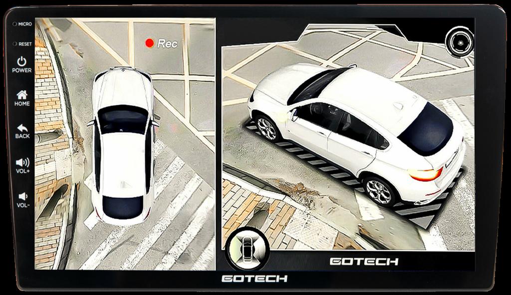 Màn hình Gotech GT360 Plus khắc phục mọi điểm mù xung quanh xe.