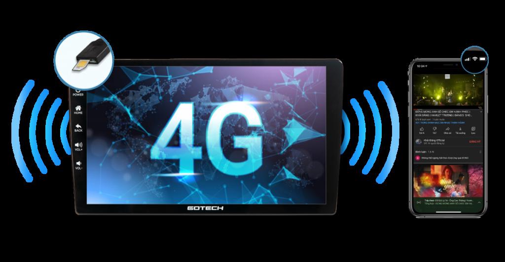 Màn hình Gotech GT8 kết nối internet tốc độ cao qua sim 4G.