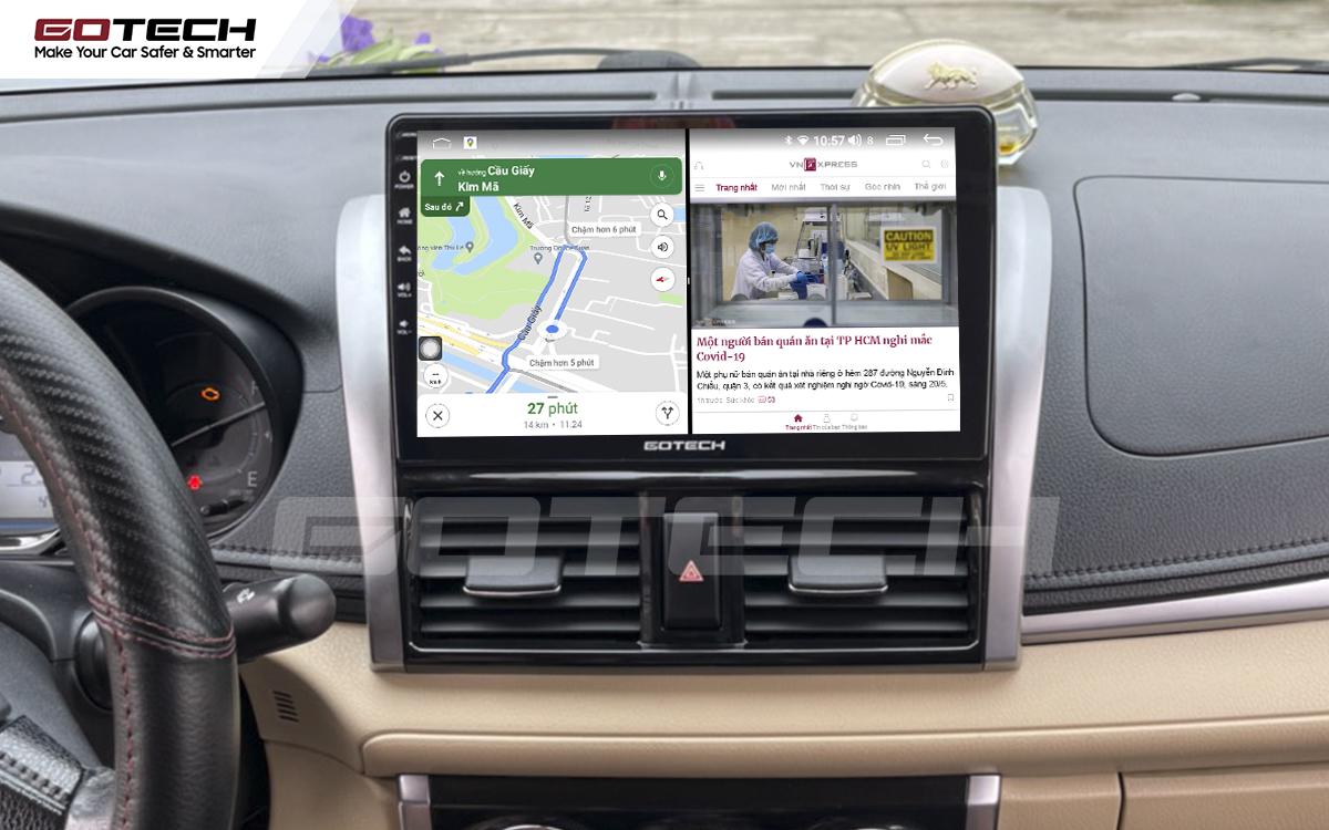 Màn hình ô tô GOTECH cho xe Toyota Vios 2014 - 2018 cấu hình cao chạy đa nhiệm ứng dụng mượt mà