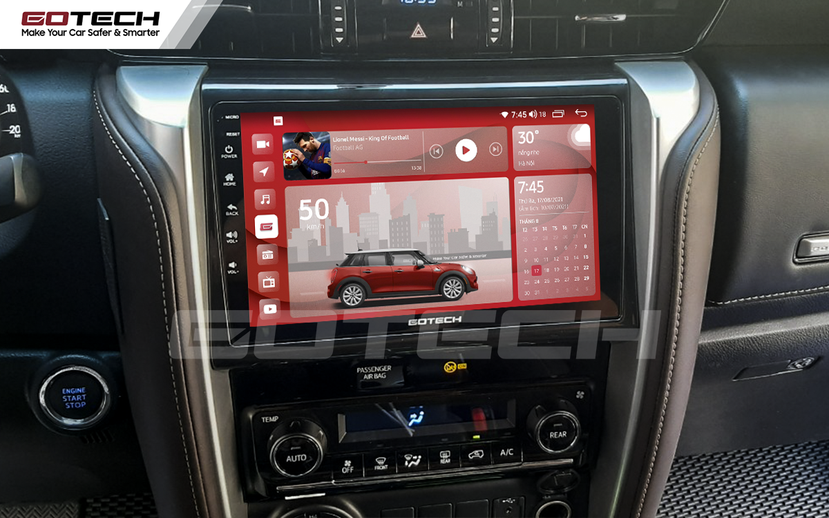 Màn hình rộng 9 inch cho xe Toyota Fortuner 2017-2020