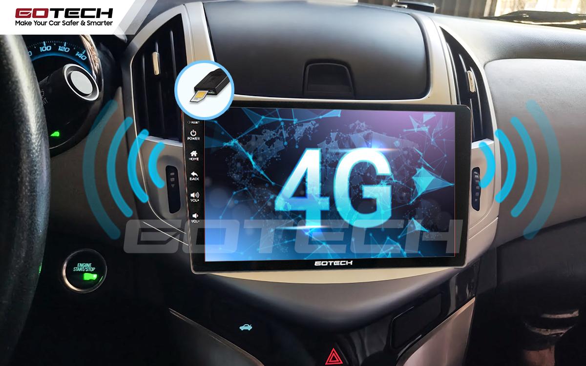 Sim 4G kết nối internet tốc độ cao trên màn hình ô tô GOTECH cho xe Chevrolet Cruze 2017-2018
