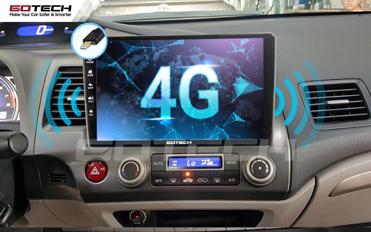 Sim 4G kết nối internet tốc độ cao trên màn hình ô tô GOTECH cho xe Honda Civic 2007-2012