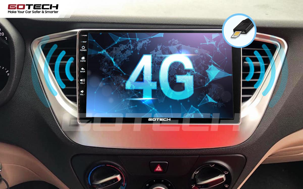 Sim 4G kết nối internet tốc độ cao trên màn hình ô tô GOTECH cho xe Hyundai Accent 2018-2020
